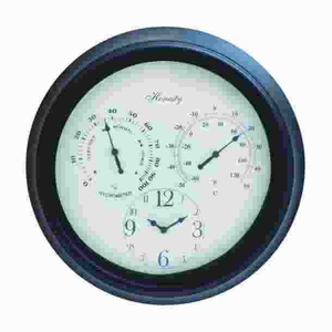 Metal Outdoor Clock Detailed with Bold Numerals in Black Font Brand Woodland