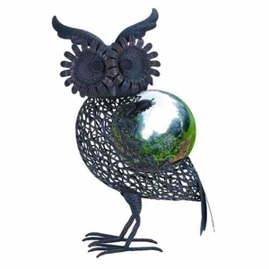 Metal Owl Decor - Whimsical Metal Owl With Gazing Ball For Patio Brand Woodland