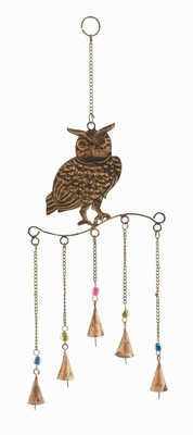 Metal Owl Wind Chime Golden Wire Detailing in Colored Beads Brand Woodland