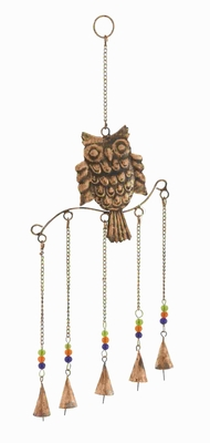 Metal Owl Wind Chime Natural Style with 5 Bells in Colored Beads Brand Woodland