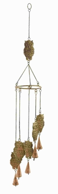 Metal Owl Wind Chime with 5 Owls Hanging on Chain and 1 on Top Brand Woodland
