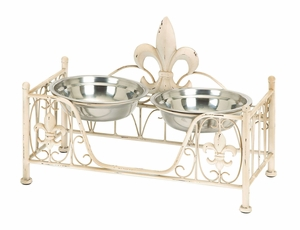 Metal Pet Bowl in Soft Cream Shade with Intricate Details Brand Woodland