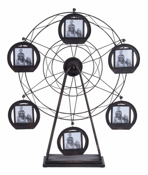 Metal Photo Frame Designed With Giant Round Wheel For Six Photos Brand Woodland