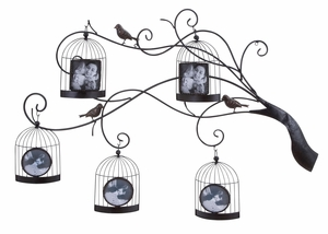 Metal Photo Frame For 5 Photos With Five Round Shaped Bird Cages Brand Woodland