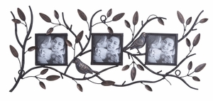Metal Photo Frame Nature Inspired For 3 Photos Brand Woodland