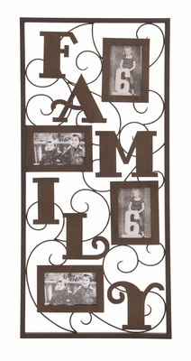 Metal Photo Frame Wall Decor With Sensible Word FAMILY Brand Woodland