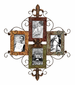 Metal Photo Frame With Fluer-De-Lis Theme For Four Photos Brand Woodland