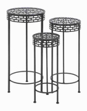 Metal Plant Stand Designed with Sturdy Round Table Top (Set of 3) Brand Woodland
