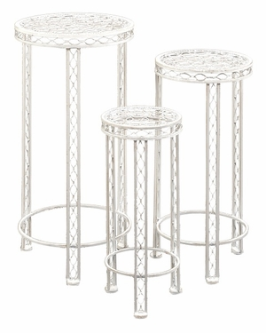 Metal Plant Stand in White with Minimal Detailing - Set of 3 Brand Woodland