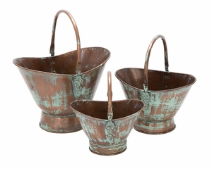 Metal Planter A Set Of Three In Oval Bucket Shape Brand Woodland