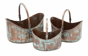 Metal Planter A Set Of Three In Round Shape With Flat Bottom Brand Woodland