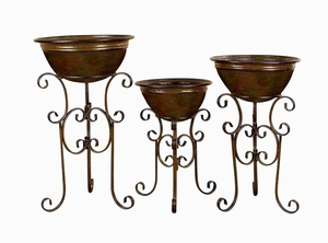 Metal Planter Crafted with Intricate Detailings - Set of 3 Brand Woodland