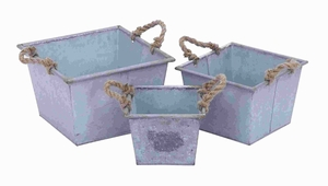 Metal Planter Designed with Rope Handles (Set of 3) Brand Woodland