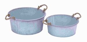 Metal Planter in Flaunt Patina Finish & Rustic Charm (Set of 2) Brand Woodland
