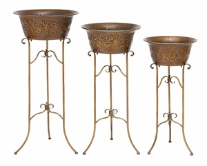 Metal Planter Set /3 Designed In Bowl Shape With Artistic Stand Brand Woodland