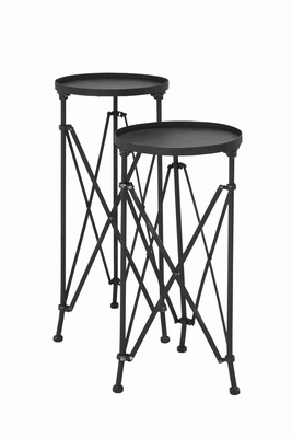 Metal Planter Stand with Intricate Aesthetic Design Set of 2 Brand Woodland