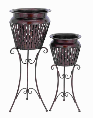 Metal Planter Stand with Slender Legs and Stable Base (Set of 2) Brand Woodland
