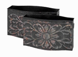 Metal Planter with Easy Mobility in Dark Grey Color (Set of 2) Brand Woodland
