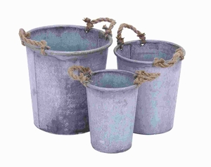 Metal Planter with Patina Finish and Rustic Charm (Set of 3) Brand Woodland