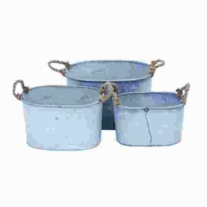 Metal Planter with Round Shape & Attractive Appeal (Set of 3) Brand Woodland