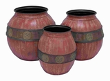 Metal Planter with Rusytic Look in Red and Black Hues (Set of 3) Brand Woodland