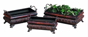 Metal Planters with Side Handles in Rustic Brown - Set of 3 Brand Woodland