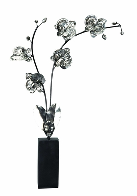 Metal Poly Resin Leaf Stem with Intricate Detailing in Silver Brand Woodland