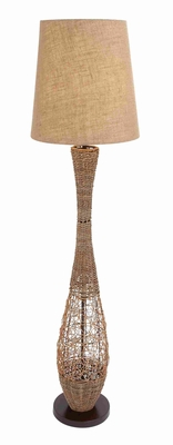 Metal Rattan Floor Lamp with Elegant Details and Simple Styling Brand Woodland