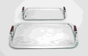 Metal Rectangle Tray with Designer Wood Handles (Set of 2) Brand Woodland