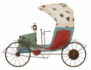 Metal Rickshaw Wall Decor Sculpture, 28 Inch Width 23 Inch Height Brand Woodland