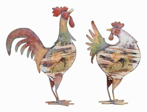 Metal Rooster in Bright Color Pattern and Long Lasting (Set of 2) Brand Woodland