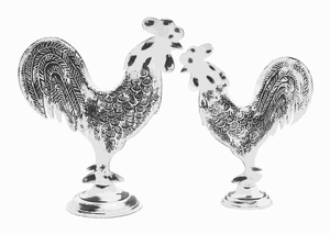 Metal Rooster Modern Decor Styles in Metallic Finish (Set of 2) Brand Woodland
