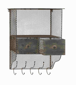 Metal wall organizer with column and hooks - 66571 by Benzara