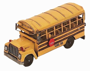 Metal School Bus in Bright Yellow Color with Antiqued Design Brand Woodland