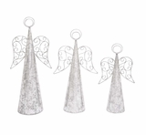 "Metal Set Of 3 Angel Christmas Decor In Silver S/3 27"", 23"", 20""H by Woodland Import"