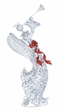 "Metal Silver Xmas Angel Playing the Trumpet w/ Glitter 38""H by Woodland Import"