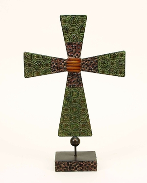 Metal Standing Cross with Intricate Detailing in Rust Finish Brand Woodland