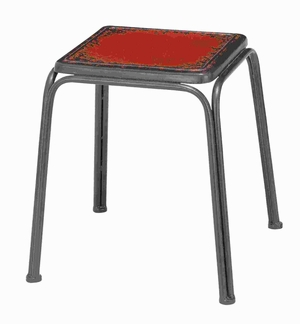 Metal Stool with a Bright Red Finish with Sturdy and Slender Legs Brand Woodland