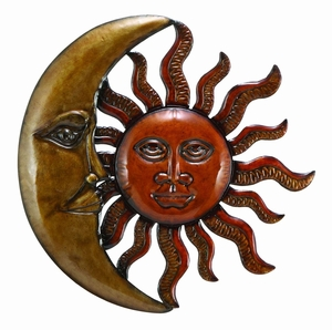 Metal Sun Moon Wall D�cor 20 Inch Diameter, Antique Wall Art Brand Woodland