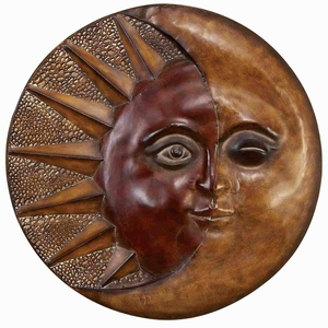 Metal Sun Moon Wall Decor in Brown Finish with Modern Design Brand Woodland