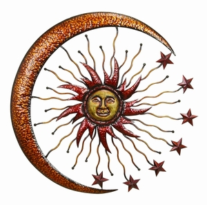 Metal Sun Moon Wall Decor in Sturdy Brown and Red Finish Brand Woodland