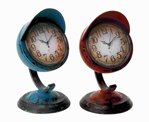 Metal Table Clock Assorted in Red and Blue Colors (Set of 2) Brand Woodland