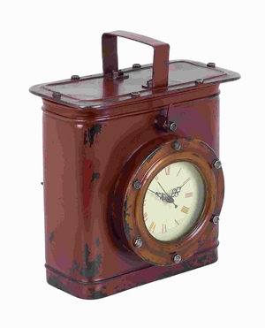 Metal Table Clock with Minimal Details in Worn Out Finish Brand Woodland
