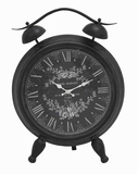 Metal Table Clock with White Intricate Design & Roman Numerals Brand Woodland