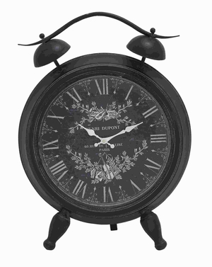 Intricate White Design Table Clock with Roman Numerals - 52524 by Benzara