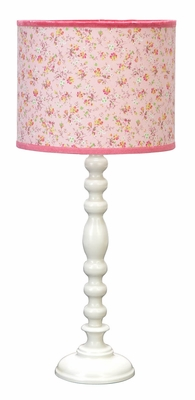 Metal Table Lamp in Pink and White Finish with Floral Design Brand Woodland