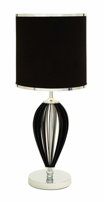 Metal Table Lamp with Black Lampshade and Curvy Black Pattern Brand Woodland