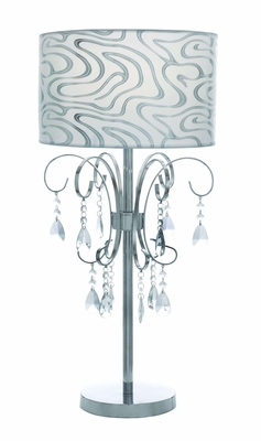 Metal Table Lamp with Printed Lampshade and Beaded Tassels Brand Woodland
