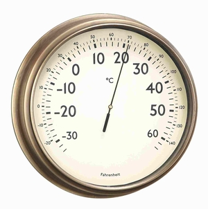 Metal Thermometer in Bronze Finish with Antiqued Design Brand Woodland