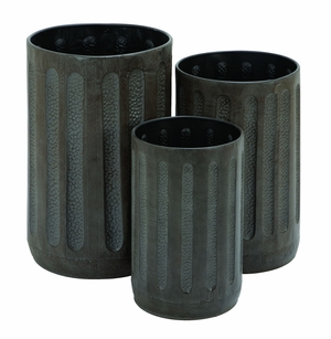 Metal Trash Can with Granule Texture in Black - Set of 3 Brand Woodland